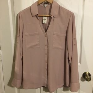 Express cream long sleeved blouse